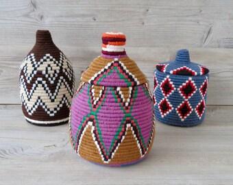 "Moroccan Berber Bread Basket Brown and Purple 10"""