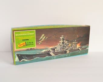 1967 Lindberg German Battleship Scharnhorst Unassembled Plastic Model Kit #761:100