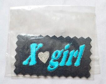 GIRL DENIM PATCH -cute, silver, 90s, y2k, aesthetics, jacket, feminism, schoolgirl, clueless, jean, vintage, heart, glitter-
