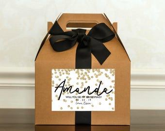 Gold Bridesmaid Proposal Box. Will You Be My Bridesmaid Gift Box. Personalized Bridal Party Gift. Bridesmaid Gable Box. Maid of Honor Invite
