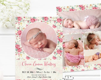 Girl Birth Announcement Card, Baby Girl Birth Photo Announcement Printable Personalized Photo Card Digital Printable No.698BABY