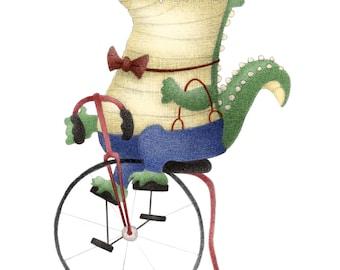 "8""x10"" Dapper Alligator Bicycle Crocodile 1920's Mixed Media Cute Kawaii Chibi Art Print Office Nursery Decor Illustration Children's Books"