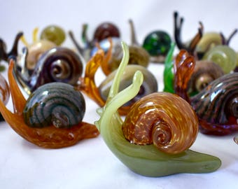 Glass Snails- hand sculpted glass, garden art, nature, natural, organic, unique characters as great gifts