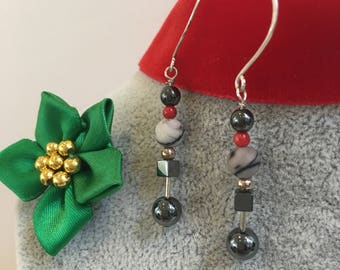 Quirky Geometric Beaded Earrings - Haematite, coral, sterling silver