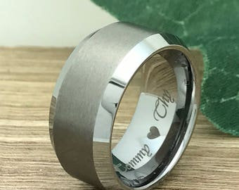 10mm Tungsten Wedding Ring,Personalize Custom Engrave Tungsten Carbide Ring, Brushed Finish Ring, Anniversary Ring, Father's Day Gift TCR006