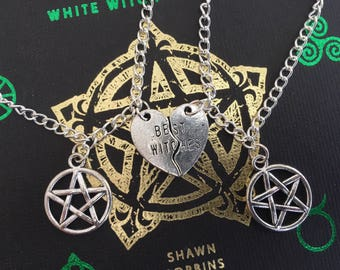 Best Witches Friendship Necklace Set choose your charm pentacle triquetra trinity knot celtic witch wicca pagan witchcraft best friends