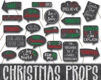 Christmas Photo Booth Props - Chalkboard signs - Printable - Includes over 40 Christmas Photo Props - Digital Download - INSTaNT DOWNLoAd