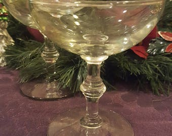 3 Spindle  Champagne Coupe Glasses