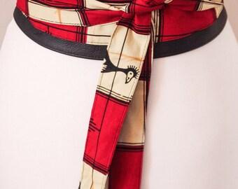 African Print Black Leather Obi Belt | Wax print Obi Belt | Wide Waist Belt| African Print Corset Belt | Plus size accessory |Print Obi Belt