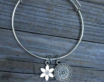 Daisy bracelet, Flower Bracelet, Mandala Bracelet, Yoga Bracelet, Charm Bangle, Charm bracelet, Ohm bracelet, Stacking Bracelet, Gifts