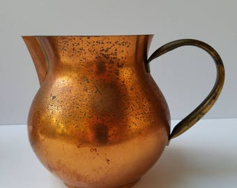 Copper Pitcher with Brass Handle Stamped Copral Made in Portugal