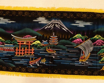 VINTAGE Handpainted on Black Velvet Mural from Japan, Gold Fringe, Sparkle, Pagoda, Geisha Girl, Japanese boats, Wall Hanging, Picture