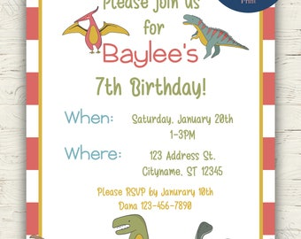 Red Dinosaurs Wedding Invitations (INSTANT PDF DOWNLOAD)