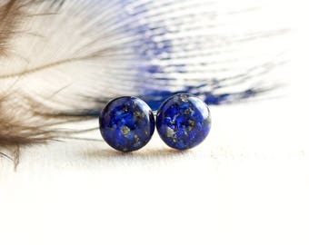 FREE SHIPPING // Lapis Lazuli and Pyrite Earrings // Lapis Lazuli Studs // Lapis Lazuli Jewelry // Lapis Lazuli Crystal // Blue Earrings