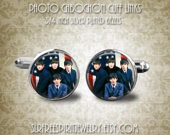 The Beatles Cufflinks, Famous Bands, British Bands, Beatles in America, American Flag, John, Paul, George, Ringo, Gift for Men