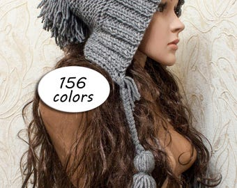 Gray Knit Hat - Pom pom Hat - Hood with Ties - Crochet Hood Tassel Hat - Knit Accessories Gift For Her - Color Choices