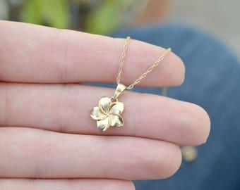 14k Yellow Gold Plumeria Necklace, 14k Plumeria Pendant, 14k Yellow Gold Hawaiian Necklace, Gold Hawaiian Flower Necklace, Hawaiian Jewelry