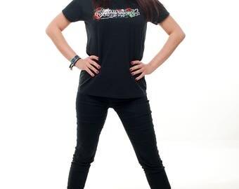 Darktribe Logo Girly Shirt Gr. S, M, L & XL black rose skull alternative blood