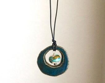 Ceramic Pendant and glass bead neacklace, turquoise handmade
