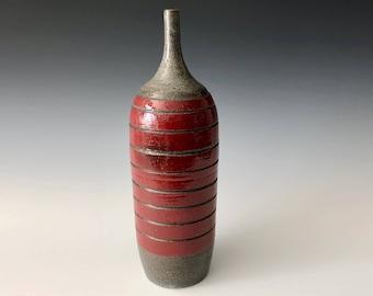 Modern handmade pottery black stoneware with red underglaze thin-necked bottle vase Haight Pottery Company