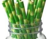 Green Bamboo Straws, Tiki Party, 10CT, Luau, Tropical Decorations, Hawaii, Panda Bear, Hawaiian, Summer, Pool Party, Beach Wedding