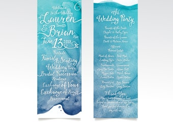 LAUREN . Program Card Watercolor Teal Blue Aqua Beach Carribean Destination Wedding Island White Calligraphy Church Ceremony Card . PRINTED
