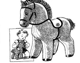 "E-Patttern Pet Pony Stuffed Animal & Saddle Pattern 16"" x 18"" Vintage 1943"