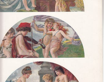 "Antique French Art Nouveau Print 3 Lunettes D""Enfants Neoclassical Influence 10"" X 14""  Album De La Decoration"