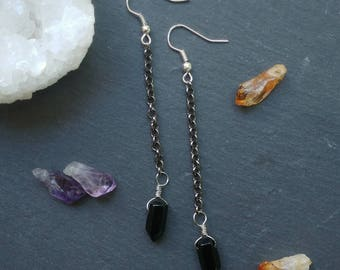 Onyx & Chain Earrings // Simple Black Onyx Earrings // Onyx Point Earrings on Chain // Black Onyx Gemstone Earrings