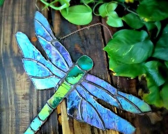 The Glass Dragonfly, stained glass, dragonfly, home decor, wall decor, garden decor, gifts for her, insects, unique gifts, suncatchers, cool