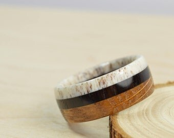 Mens Wood Ring ~ Antler Blackwood Whiskey Barrel ~ Natural Wooden Jewelry Mens Anniversary Gift~ Made to Order