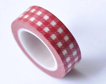 Red Plaid Masking Washi Tape 15mm x 10M  No.12747