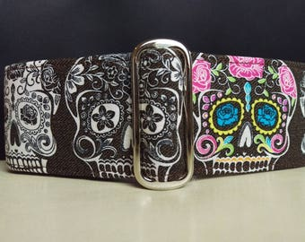 "Martingale Collar - Whippet, Greyhound, Italian Greyhound - 1"", 1.5"" and 2"" width - Dia de Muertos #2"