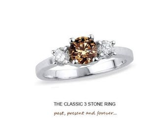 2.00 Carat Round Brilliant Chocolate 3 Stone Ring in 925 Sterling Silver & 14K White Gold Finish