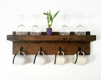 Floating Shelf | Mug holder | Farmhouse decor | Floating shelves | Rustic shelf | Rustic decor | Rustic Kitchen shelf