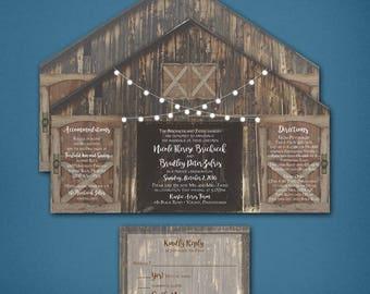 Barn Wedding Invitation • Barn Wedding Invitation • Barn with doors Wedding Invitation • Barn • Optional postcard response card • Rustic