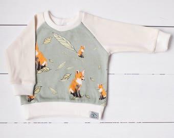 Baby sweatshirt, toddler sweater, organic baby clothes, baby FOX