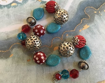 Red and Blue Glass Beaded Necklace, Blue Necklace, Glass Beaded Necklace, Beaded Jewelry, Beaded Necklace, Statement Necklace, Gift For Her