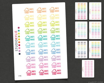Dad's House / Mum's House / Mom's House -  Planner Stickers - Custody -   Repositionable  Mate Vinyl