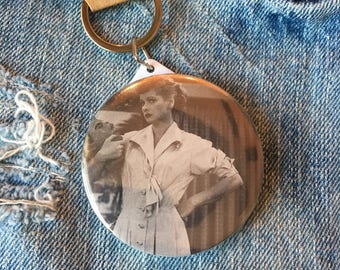I Love Lucy, button mirror keychain, pocket mirror, 58mm keychain, I LOVE LUCY keychain, Lucille Ball