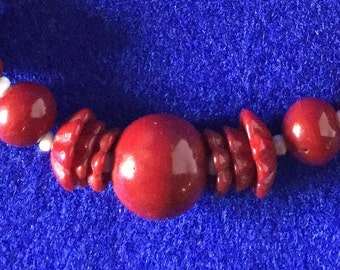 Bohemian Glass Art Deco Burgundy And White Composite Bead Necklace