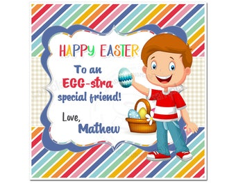"""Custom Happy Easter Printable Tags- Boy-Easter Eggs D.I.Y Tags- Personalized Stickers (You Print) 2.5"""" tags"""