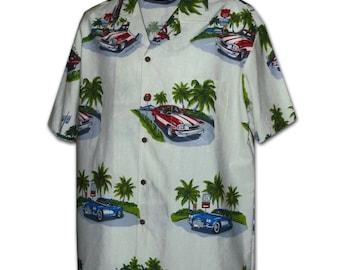 The 50's Vintage Cars Cream Pacific Legend Hawaiian Aloha Shirt 442-3656