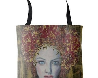 """L.E.Wearable Art Medium Tote Bag """"Relics of a Lost Love"""" All over print tote printed painting lady artwork by Deborah Bowe"""