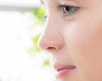 Very thin Nose ring in 9ct Gold and Sterling Silver , 0.4mm/26 GAUGE, Earring, Hypoallergenic, Septum Ring, Piercing, Hoop