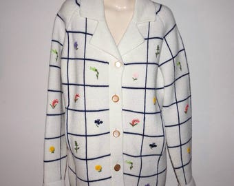 Vintage Lilly of California Embroidered Flowers Sweater Jacket Knit Coat