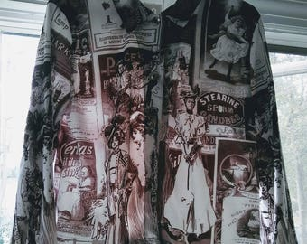 Vintage 1990s Newsprint Shirt Jacket