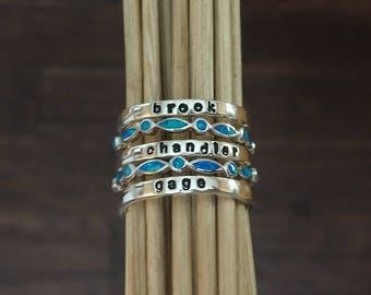 Sterling Silver Stackable Name Ring, Build your own Set, Personalized stackable rings, Hand stamped Mothers ring, Lab Blue Opal Ring