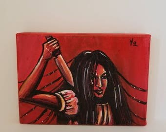 Horror Acrylic Painting --- 5x7 --- Stretched Cotton Canvas