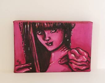 "Original Acryic Painting --- 4x6 --- ""Tomie: Demon Girl"" --- Stretched Cotton Canvas"